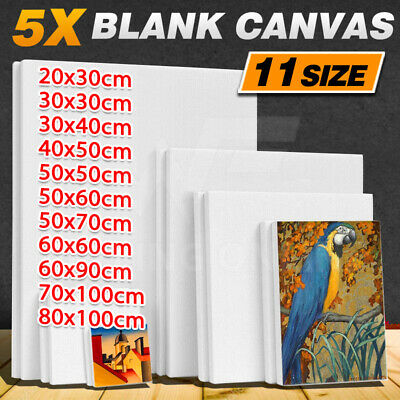 Economy Artist Blank White Stretched Canvas Super Value Pack 5 Acrylic Wood
