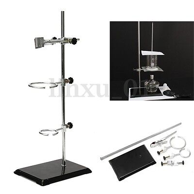 Lab Laboratory Retort Stands Support Clamp Flask Platform Set High Height 20.5""