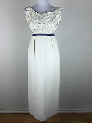Vintage 1960s Dress Sequin Cream Blue Empire Waist Size Small Cocktail Party