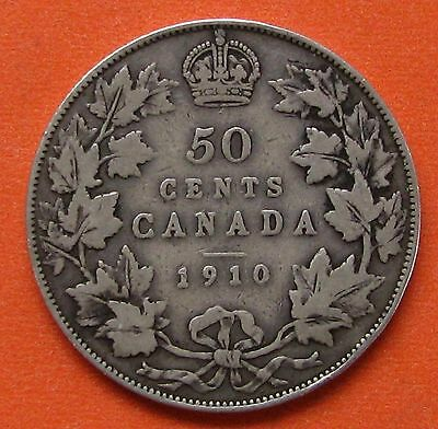 CANADA 1910 FIFTY 50 CENTS 50c HALF DOLLAR EDWARDIAN LEAVES SILVER COIN #2- VG10