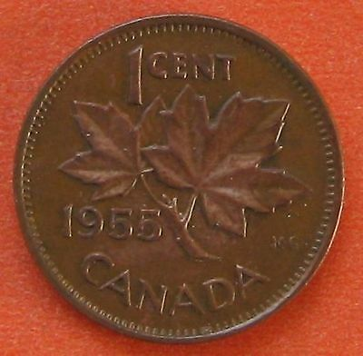 CANADA 1955 NSF ONE 1 CENT 1c PENNY COIN - F-VF