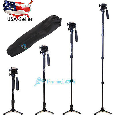 Pro Monopod + Fluid Pan Head Ball + DV Unipod for Canon Nikon DSLR USA Stock
