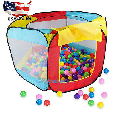 Kids Play House Indoor Outdoor Easy Folding Ball Pit Hideaway Play Tent US STOCK