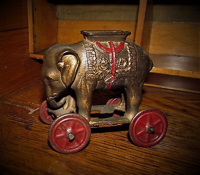 Antique Vtg A C Williams Dime Store Cast Iron Elephant on Wheels Pull Penny Bank