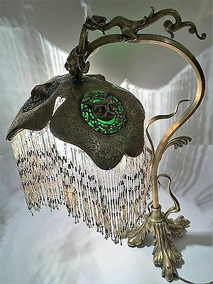 Antique Bronze Lamp Owls Bacchus Dragon Micro Beaded Shade AWESOME