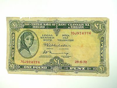1976 The Central Bank Of Ireland Lady Lavery One Pound Banknote