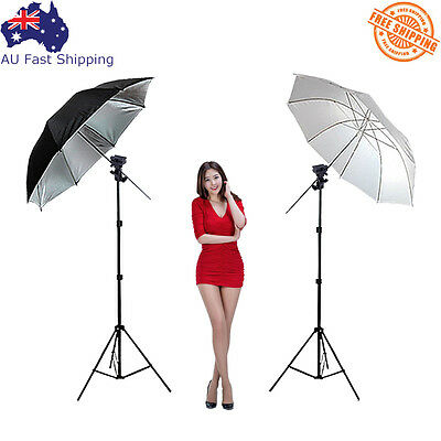 Photography Studio Flash Umbrella Speedlite Light Lighting Stand+2 Bracket B Kit