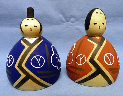 Pair Hand Carved &Hand Painted Wooden  Oriental Japanese Kokeshi Mini  Figurines