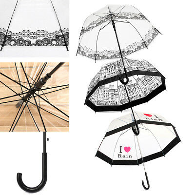 Lady Dome Transparent Clear Lace Building Creative Print Rain Wedding Umbrella