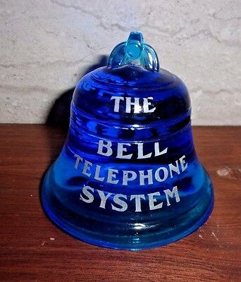 Rare Bell Telephone System Paperweight -  Beautiful Blue - Local & Long Distance
