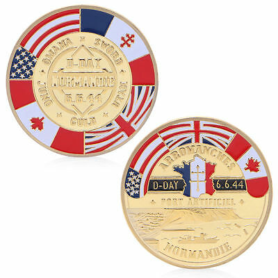 Normandie Arromanches Commemorative Challenge Coin Collection Souvenir Golden