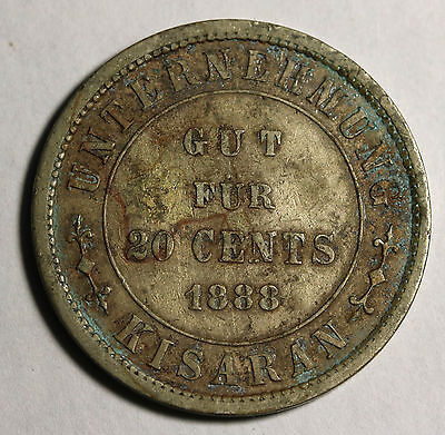 1888 NETHERLANDS EAST INDIES Sumatra Plantation Token 20 Cents Scarce LaWe 139