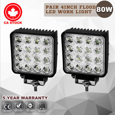 2X 4inch 80W Cree LED Work Light Bar Flood Beam Offroad 4WD Atv Boat vs 18W