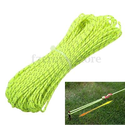 20m 1.8MM Reflective Guyline Camping Tent Rope Runners Guy Line Cord Paracord