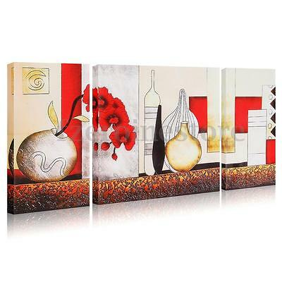 3 Panels Vase Flower Canvas Painting Print Picture Home Wall Art Unframed Decor