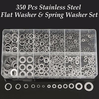 350Pcs Flat & Spring Stainless Steel Washers Assorted Tool Set Metal Lock Washer