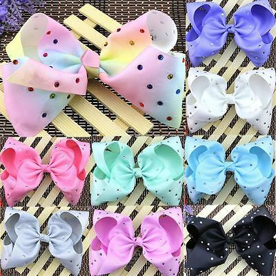 Rhinestone Bow Boutique Hair Accessory Grosgrain Ribbon Knot With Clip For Girls