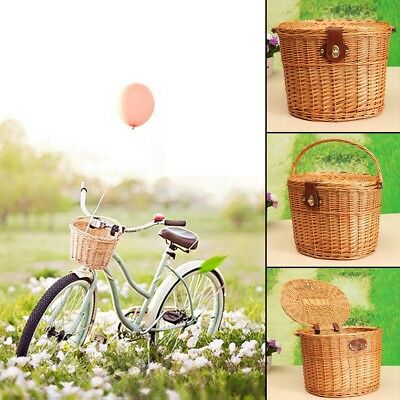 Wicker Bike Bicycle Front Cargo Basket Box Handlebar Brown For Shopping New