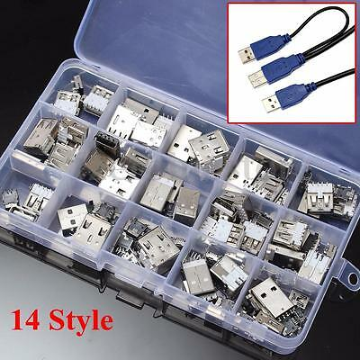 14 Styles USB Male USB Female Mini USB SMD Vertical Socket Connector for DIY