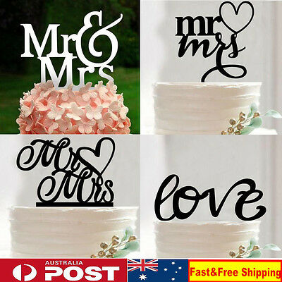 Acrylic Wedding Cake Topper Sticks Wedding Party Decoration Mr and Mrs Love