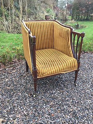 Antique Art Nouveau Inlaid Library Reading Chair