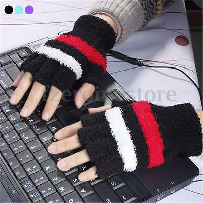 USB Heated Gloves Fingerless Winter Hand Warmer Electric Heating PC Laptop