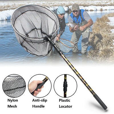 Telescoping Folding Fishing Brail Landing Net Mesh 180cm Extending Pole Handle