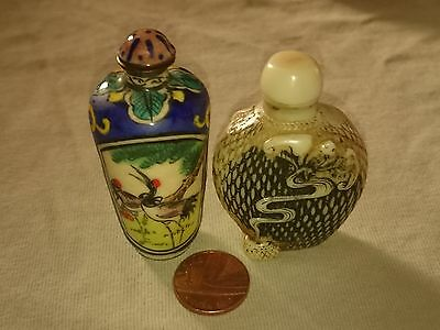 Two vintage snuff bottles(stone and porcelain on copper)