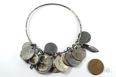 ANTIQUE SILVER BRACELET w/ 12 CHARMS - VICTORIAN COINS, TOKENS, COMPASS etc