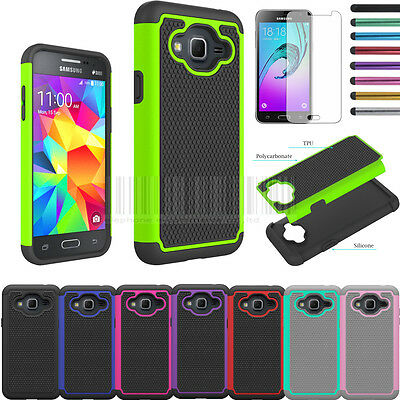 For Samsung Galaxy J3 Shockproof Rugged Hybrid Armor Rubber Case Cover + Film