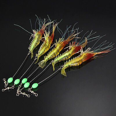 Noctilucent Silicone Simulation Soft Prawn Shrimp Fishing Bream Lure Hook Bait