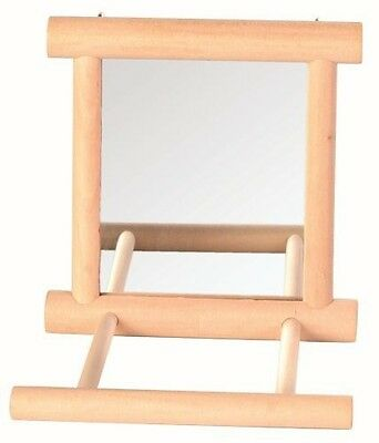 Bird Mirror With Perch, Wooden Frame and Bell Bird Toy By Trixie, 9 x 10 cm, New