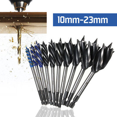 High-Carbon Steel 4 Cutters Wood Fast Cut Auger Drill Bit 10-38mm Carpenter Tool