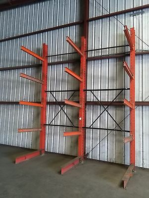 "Steel Double Section 4 Shelf 51"" Cantilever Metal Lumber Storage Racks 16'x148"""