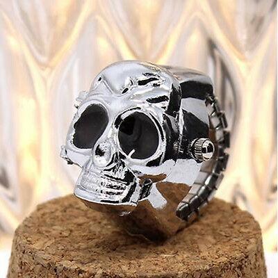 Hot Vintage Retro Skull Finger Ring Quartz Dial Watchs Gift White Steel