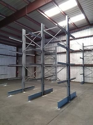 "Steel 2 Section Double Sided 48"" Cantilever Metal Lumber Storage Racks 16'x148"""