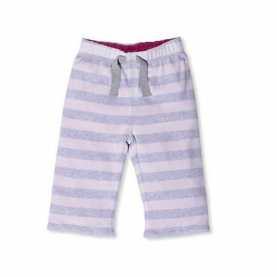 BONNIE BABY Girls Organic Cotton Reversible Pink Grey Striped Trousers 12-18m