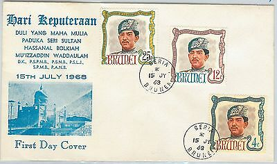 61243  - Brunei - Postal History - Fdc Cover   Sg # 154/6 1968 - Royalty