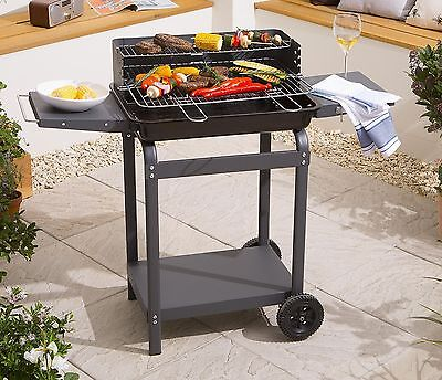 NEW Tesco Rectuangular Charcoal Barbecue Trolley BBQ with 2 Side Shelves - Grey