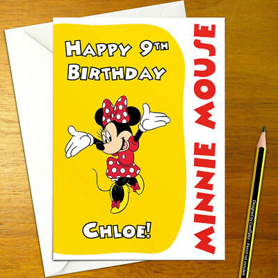 MINNIE MOUSE Personalised Birthday Card - A5 mickey disney micky donald goofy