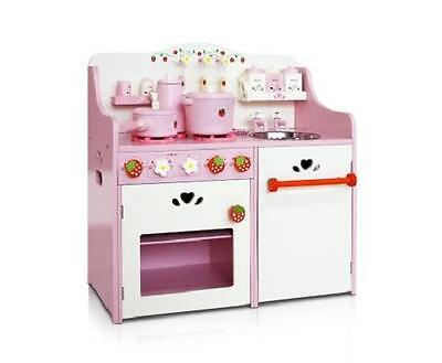 Kids Girls Pink Pretend Play Toy Wooden Kitchen w/ Stove Sink Oven & Accessories
