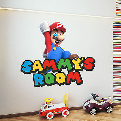 Personalised Super Mario Kids Mural Wall Sticker Any Name Nursery Art luigi