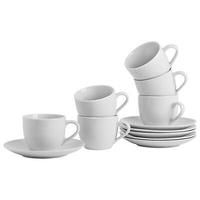 White Cappucino Coffee Tea Cups & Saucers Porcelain Set - 200ml (7oz) - x6