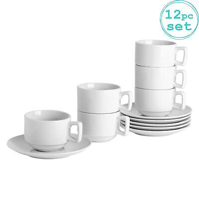 Stacking Cups and Saucers White Tea Coffee Cup Saucer Dining Set 200ml (7oz) x6