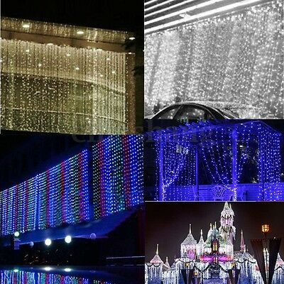 6M x 3M / 3Mx3M LED Curtain Light icicle Xmas String Fairy Light Party Wedding