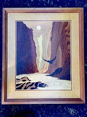 Beautiful!!  Vintage Marquetry Inlaid Wood Eagle Canyon  Picture ~ Wall Art