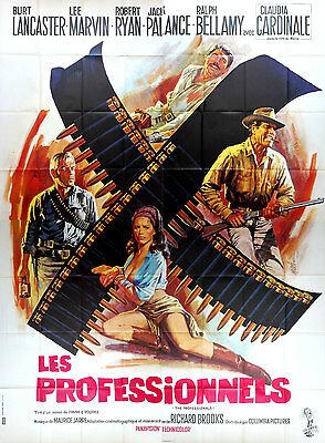 R70s THE PROFESSIONALS Lee Marvin Claudia Cardinale French 4 panels movie poster