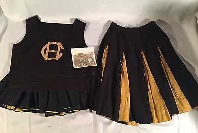 Vintage Chapel Hill High North Carolina School Cheerleader Top Two Skirts Outfit