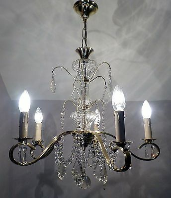 Elegant Antique French 5-Arm Chandelier C1915, Polished Brass Lead Crystal Swags