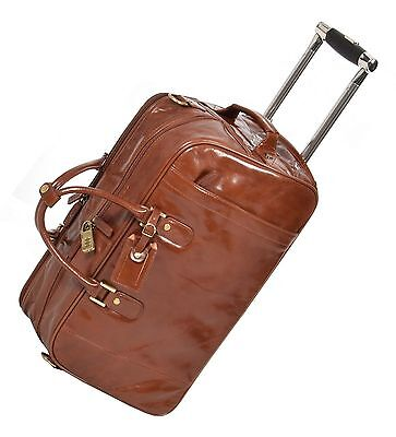 Exclusive Wheeled LEATHER Holdall Duffle Gym Carry Travel Weekend BAG Chesnut